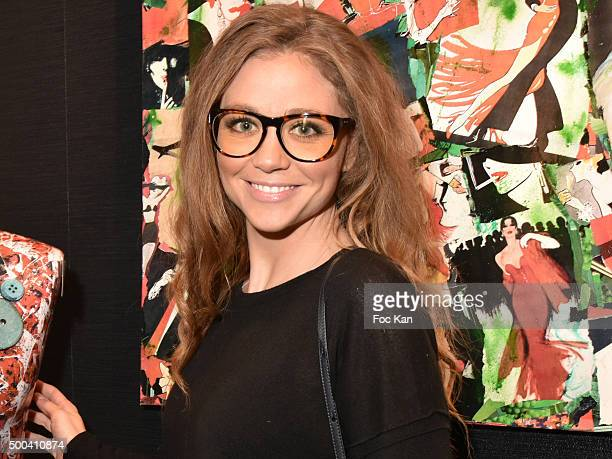 Cyrielle Joelle from Le Juste Prix attends the 'Accords Croises' Anne Mondy Exhibition Preview at Galerie Dedar on December 7 2015 in Paris France