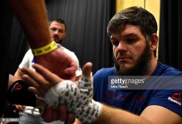 Cyril Asker of France gets his hands wrapped backstage during the UFC 221 event at Perth Arena on February 11 2018 in Perth Australia