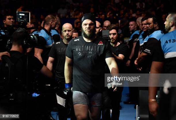 Cyril Asker of France prepares to enter the Octagon before facing Tai Tuivasa of Australia in their heavyweight bout during the UFC 221 event at...