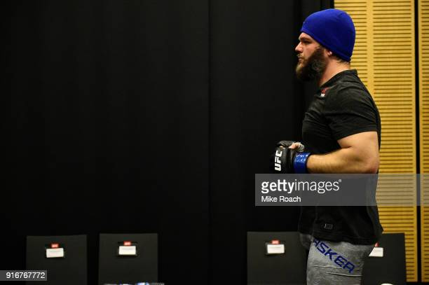 Cyril Asker of France warms up backstage during the UFC 221 event at Perth Arena on February 11 2018 in Perth Australia