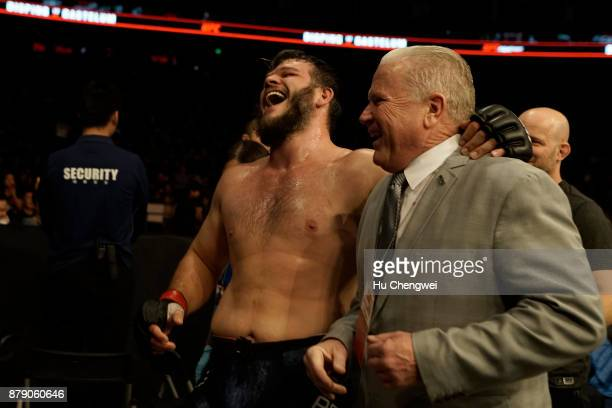 Cyril Asker smiles after his fight with Hu Yaozong during the UFC Fight Night at MercedesBenz Arena on November 25 2017 in Shanghai China