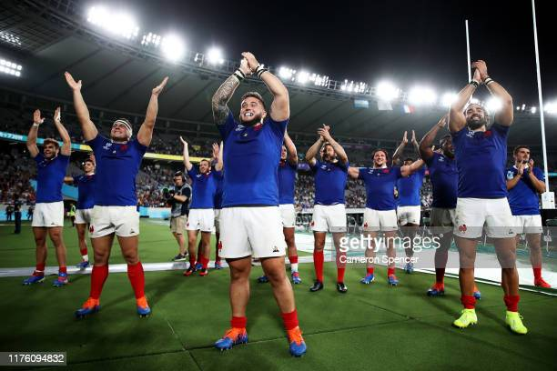 Cyril Baille and France players applaud fans after their victory in the Rugby World Cup 2019 Group C game between France and Argentina at Tokyo...