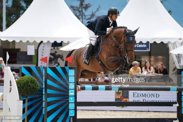 Cyril Bouvard OF FRANCE riding Broceliande du Lac during the Jumping Longines Crans Montana on July 11 2019 in CransMontana Switzerland