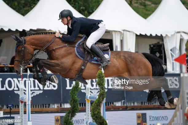 Cyril Bouvard OF FRANCE riding Broceliande du Lac during the Jumping Longines Crans Montana at CranssurSierre on July 13 2019 in CransMontana...