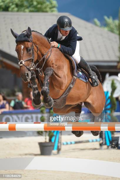 Cyril Bouvard OF FRANCE riding Jilani de l'Am during the Jumping Longines CransMontana at CranssurSierre on July 12 2019 in CransMontana Switzerland