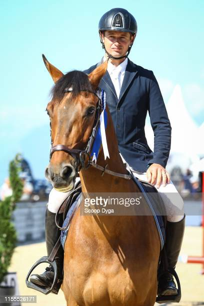 Cyril Bouvard OF FRANCE riding Jilani de l'Am during the Jumping Longines Crans Montana at CranssurSierre on July 14 2019 in CransMontana Switzerland