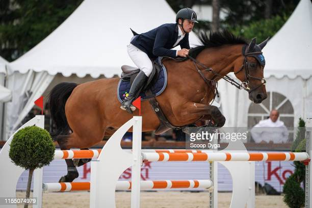 Cyril Bouvard OF FRANCE riding Jilani de l'Am during the Jumping Longines Crans Montana on July 11 2019 in CransMontana Switzerland