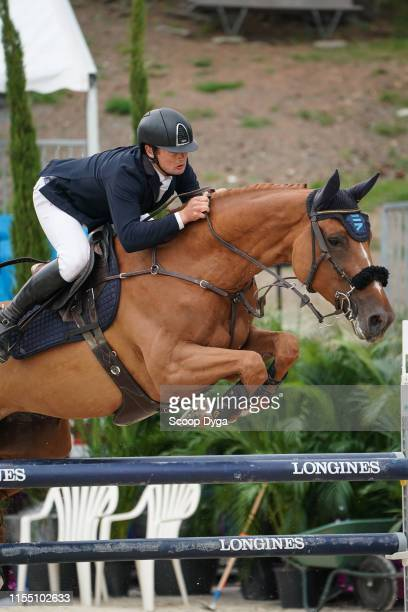 Cyril Bouvard OF FRANCE riding Victoria d'Argent during the Jumping Longines Crans Montana on July 11 2019 in CransMontana Switzerland