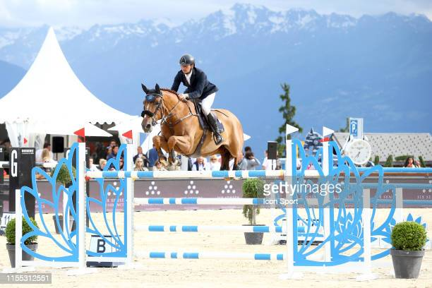 Cyril Bouvard OF FRANCE riding Victoria d'Argent during the Prix Six Senses CransMontana at CranssurSierre Golf Club on July 12 2019 in CransMontana...