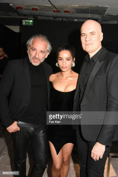 Cyril Chapuis from L'Oreal Zoe Kravitz and Stephan Bezy GD of L'Oreal attend YSL Beauty Party During Paris Fashion Week Menswear Fall/Winter 20182019...