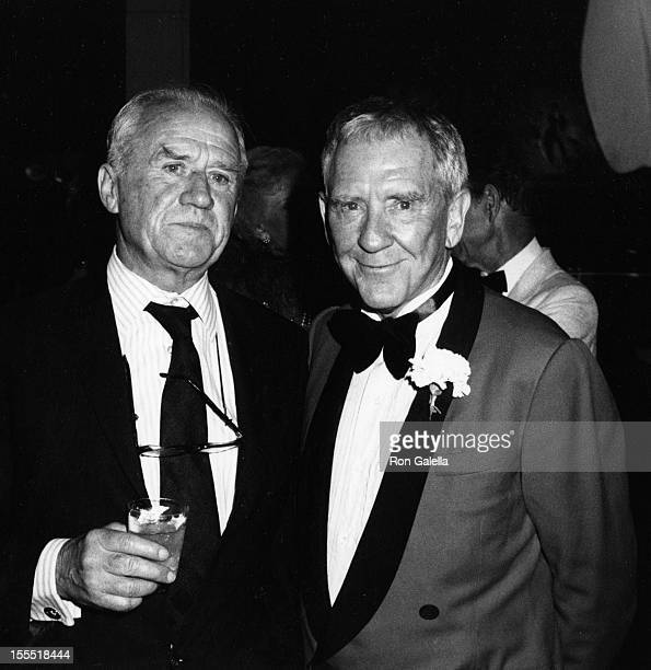 Cyril Cusack and actor Burgess Meredith attend Sixth Annual American Lifetime Achievement Awards Honoring Henry Fonda on April 19 1980 aboard the...