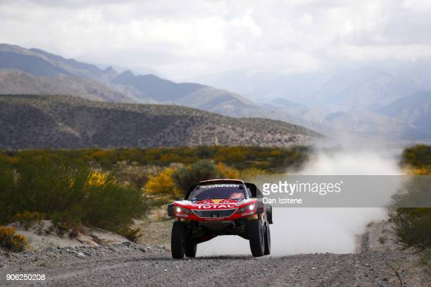 Cyril Despres of France and Peugeot Total drives with codriver David Castera of France in the 3008 DKR Peugeot car in the Classe T14 2 Roues Motrices...