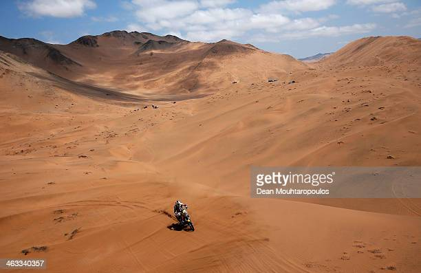 Cyril Despres of France for the Yamaha Factory Racing team competes in stage 12 on the way to La Serena during Day 13 of the 2014 Dakar Rally on...