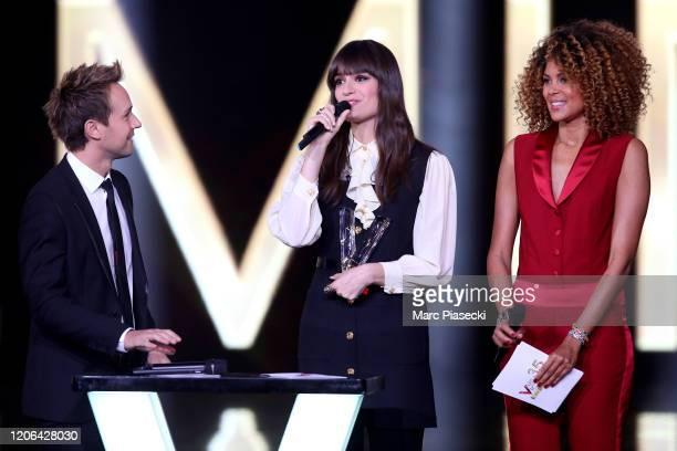 Cyril Feraud, Clara Luciani and Sophie Ducasse attend the 35th 'Les Victoires De La Musique' Show At La Seine Musicale on February 14, 2020 in...