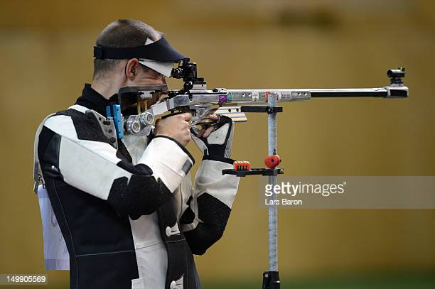 Cyril Graff of France competes during the Men's 50m Rifle 3 Positions Shooting Final on Day 10 of the London 2012 Olympic Games at the Royal...