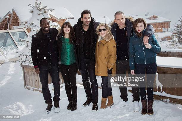 Cyril Guei Vanessa Guide Mehdi Nebbou French actress and producer Marilou Berry French actors Medi Sadoun and Sarah Suco pose pose at a photocall...