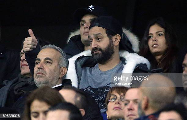 Cyril Hanouna attends the French Ligue 1 match between Olympique Lyonnais and Paris SaintGermain at Parc OL stadium on November 27 2016 in Decines...