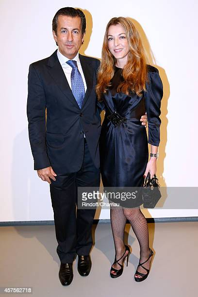 Cyril Karaoglan and Arabelle Reille Mahdavi attend the Foundation Louis Vuitton Opening at Foundation Louis Vuitton on October 20 2014 in...