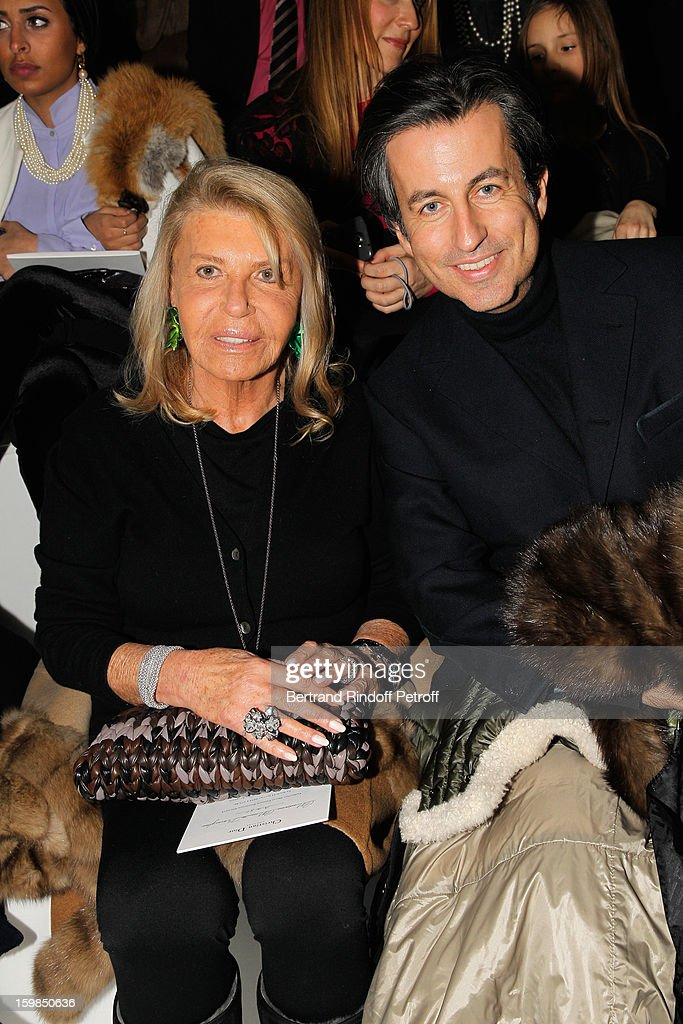 Cyril Karaoglan (R) and his Mother, Madame Maurice Karaoglan, attend the Christian Dior Spring/Summer 2013 Haute-Couture show as part of Paris Fashion Week at on January 21, 2013 in Paris, France.