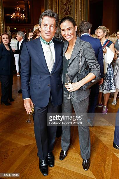 Cyril Karaoglan and Ines Sastre attend Cyril Karaoglan receives the Medal of Commander of Arts and Letters at Opera Garnier on September 23 2016 in...