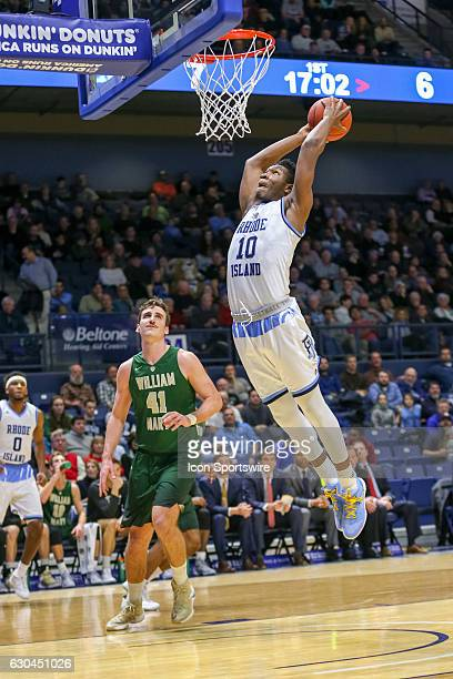 Cyril Langevine Forward for URI goes up for the dunk during the game between the University of Rhode Island Rams and the William Mary Tribe on...