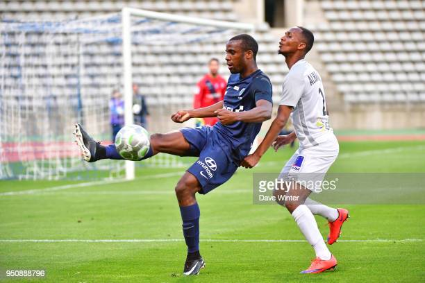 Cyril Mandouki of Paris FC and Chalek Alhadhur of Chateauroux during the French Ligue 2 match between Paris FC and Chateauroux at Stade Charlety on...