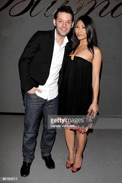 Cyril Montana and Anggun attend the Blumarine show during Milan Fashion Week Womenswear Autumn/Winter 2009 on February 28 2009 in Milan Italy