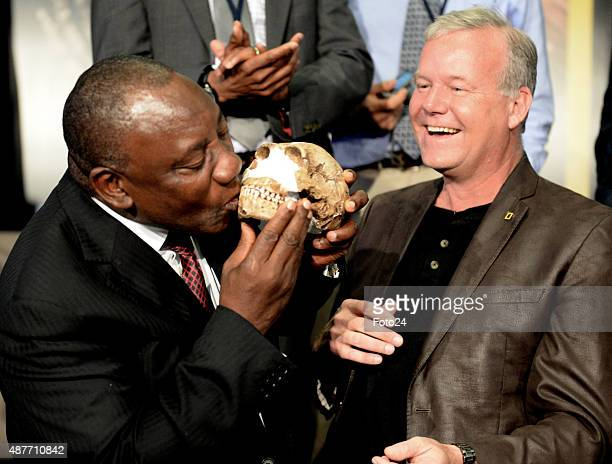 Cyril Ramaphosa and Professor Lee Berger at the reveal of the discovery of a new species of human relative Homo Naledia at The Cradle of Human Kind...