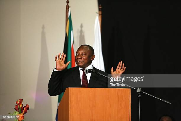 Cyril Ramaphosa at the reveal of the discovery of a new species of human relative Homo Naledia at The Cradle of Human Kind on September 10 2015 at...