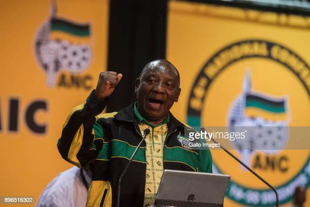 Cyril Ramaphosa during his 1st speech as the president of the ANC at 54th African National Congress national conference at the Nasrec Expo Centre on...