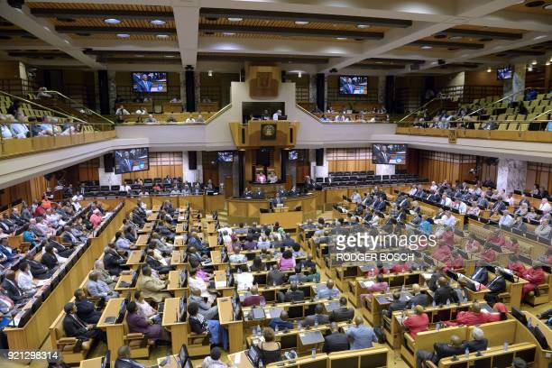 Cyril Ramaphosa newly swornin South African president addresses the South African Parliament on February 20 in Cape Town South African President...