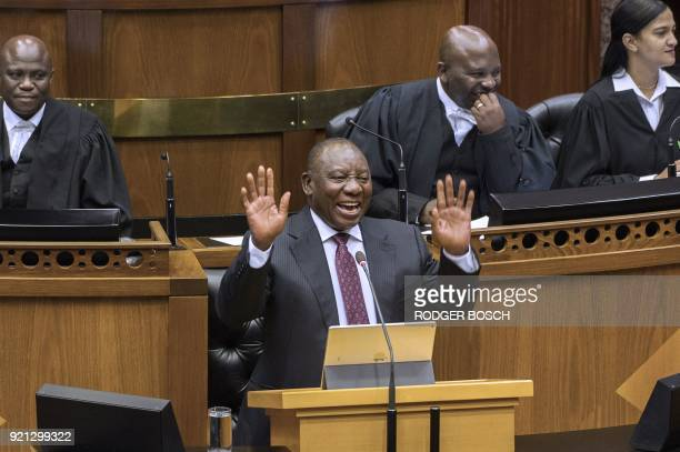 TOPSHOT Cyril Ramaphosa newly swornin South African president addresses the South African Parliament on February 20 in Cape Town South African...
