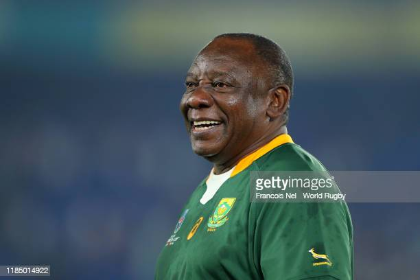 Cyril Ramaphosa, President of South Africa reacts during the trophy ceremony following South Africa's victory against England in the Rugby World Cup...