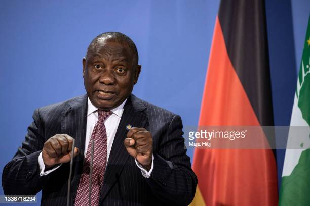 Cyril Ramaphosa, President of the South African Republic spreaks at a press conference after the G20 Compact with Africa conference at the...