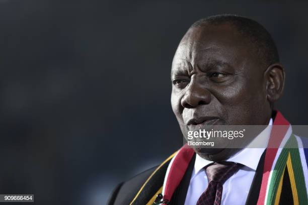 Cyril Ramaphosa South Africa's deputy president speaks during a Bloomberg Television interview on day two of the World Economic Forum in Davos...