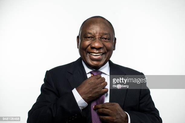 Cyril Ramaphosa, South Africa's president, poses for a photograph following a Bloomberg Television interview in London, U.K., on Wednesday, April 18,...