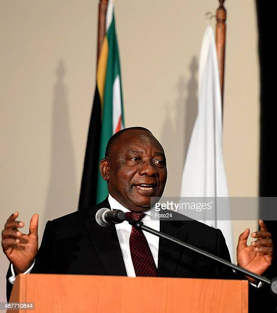 Cyril Ramaphosa speaks at the reveal of the discovery of a new species of human relative Homo Naledia at The Cradle of Human Kind on September 10...