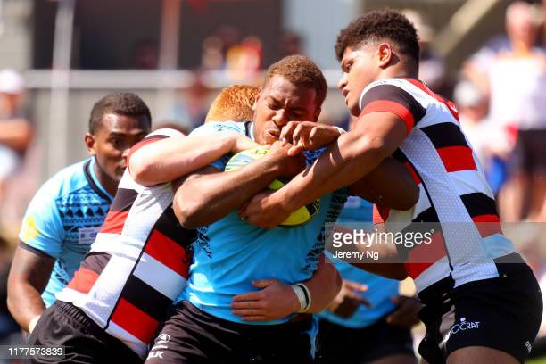 Cyril Reece of Fijian Drua is tackled during the round 5 NRC match between the Canberra Vikings and Fiji Drua at Viking Park on September 28, 2019 in...