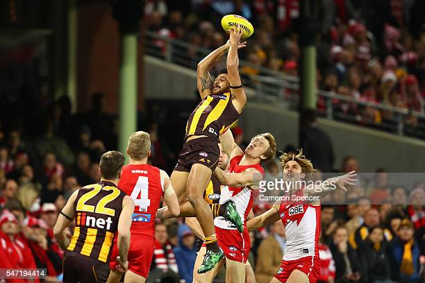 Cyril Rioli of the Hawks attempts a mark during the round 17 AFL match between the Sydney Swans and the Hawthorn Hawks at Sydney Cricket Ground on...
