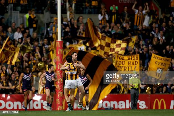 Cyril Rioli of the Hawks celebrates a goal during the AFL First Preliminary Final match between the Fremantle Dockers and the Hawthorn Hawks at...