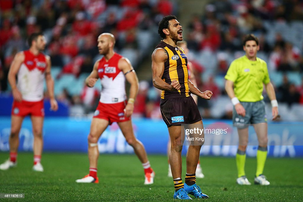 Cyril Rioli of the Hawks celebrates a goal during the round 16 AFL match between the Sydney Swans and the Hawthorn Hawks at ANZ Stadium on July 18, 2015 in Sydney, Australia.