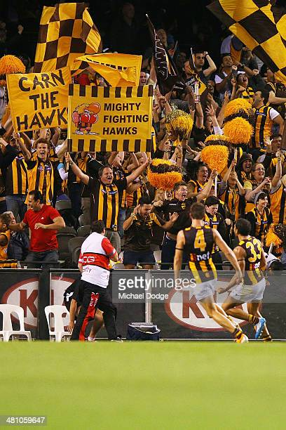 Cyril Rioli of the Hawks celebrates his match winning goal during the AFL Round two match between the Essendon Bombers and the Hawthorn Hawks at...