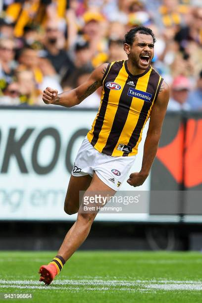 Cyril Rioli of the Hawks celebrates kicking a goal during the round three AFL match between the Richmond Tigers and the Hawthorn Hawks at Melbourne...