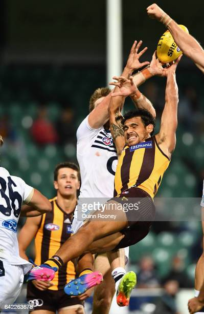 Cyril Rioli of the Hawks flies for a mark during the 2017 JLT Community Series match between the Hawthorn Hawks and the Geelong Cats at University of...