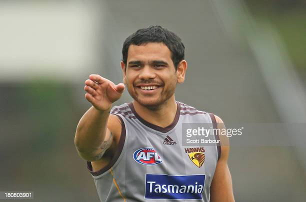 Cyril Rioli of the Hawks looks on during a Hawthorn Hawks AFL training session at Waverley Park on September 17, 2013 in Melbourne, Australia.