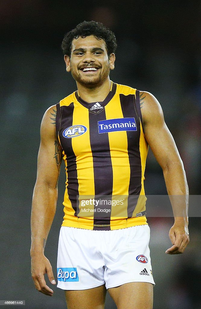 Cyril Rioli of the Hawks reacts after their win during the NAB Challenge AFL match between St Kilda Saints and Hawthorn Hawks at Etihad Stadium on March 19, 2015 in Melbourne, Australia.