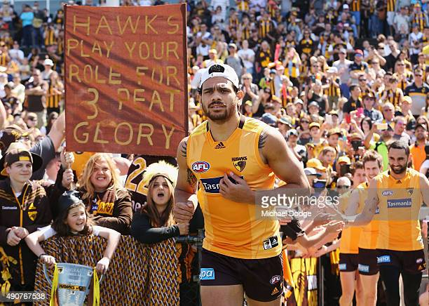 Cyril Rioli of the Hawks runs out during a Hawthorn Hawks AFL training session at Waverley Park on October 1 2015 in Melbourne Australia