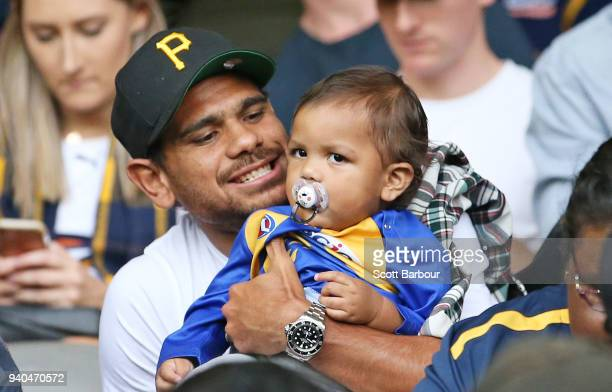 Cyril Rioli of the Hawks watches the match from the crowd during the round two AFL match between the Western Bulldogs and the West Coast Eagles at...