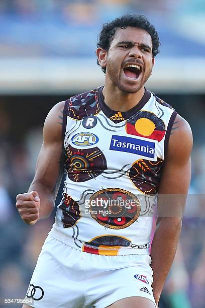 Cyril Riolo of the Hawks celebrates a goal during the round 10 AFL match between the Brisbane Lions and the Hawthorn Hawks at The Gabba on May 28...