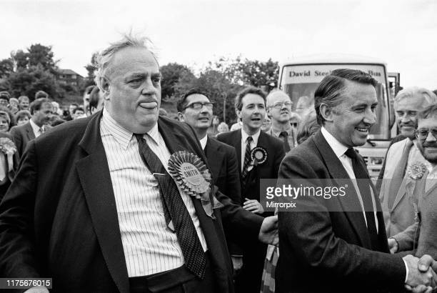 Cyril Smith and Liberal leader David Steel on the campaign trail in Rochdale during the 1987 general election. 31st May 1987.